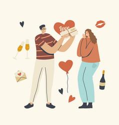 boyfriend giving present to girlfriend happy vector image