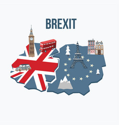 brexit concept flags united kingdom and vector image