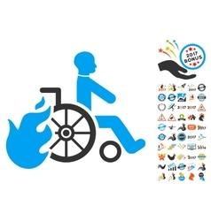 Burn Patient Icon With 2017 Year Bonus Symbols vector image