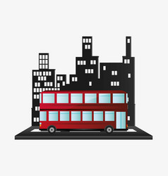 bus two storied tourist transport urban background vector image