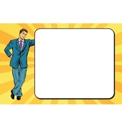Business man next to a poster vector image