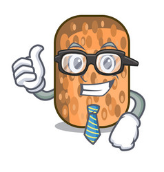 Businessman fried tempeh in bowl character wooden vector