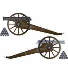 Cannon battle field vector