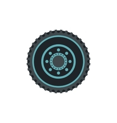 Car wheel flat icon vector