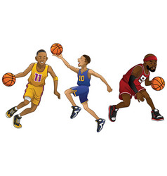 Cartoon of basketball players in set vector