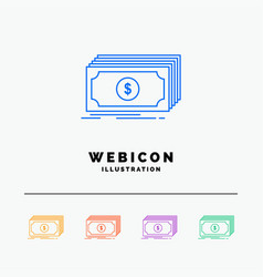 cash dollar finance funds money 5 color line web vector image