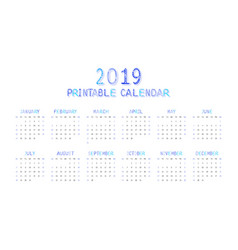 Childrens funny calendar for 2019 in blue vector