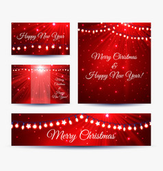 Christmas banners with garlands vector