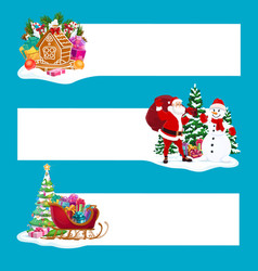 Christmas gifts santa and snowman banners vector