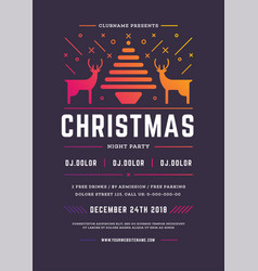 christmas party flyer invitation retro typography vector image