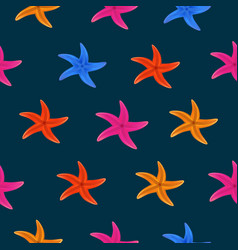 Color starfish on blue background vector