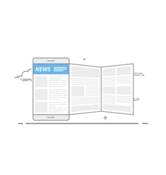 Concept of using a mobile device to read news on vector image