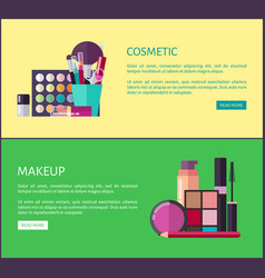 Cosmetic and makeup online shop web page templates vector
