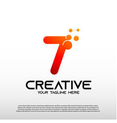 Creative logo with initial number seven 7 vector