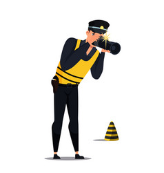 Criminalist photographing evidence on crime scene vector