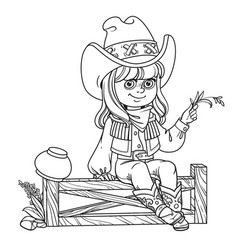 cute girl in a cowboy costume sits on a fence vector image