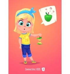 Cute girl with apple Back to school vector