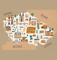 czech republic cultural map hand drawn vector image