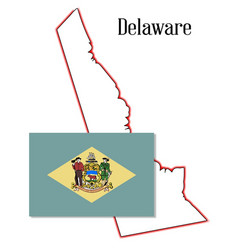 Delaware state map and flag vector