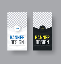 Design vertical black and white web banners with vector