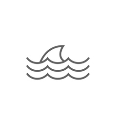 Dorsal shark fin above water line icon vector