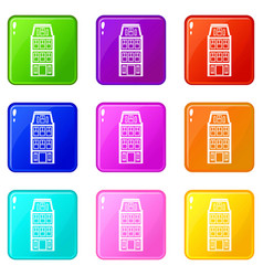 Dutch houses icons 9 set vector