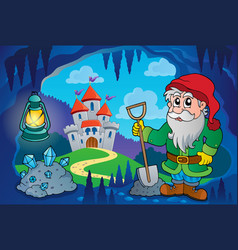 Dwarf in fairy tale cave vector