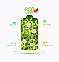 Ecology infographic battery symbol shape design vector image vector image