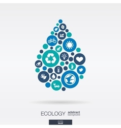 Flat icons in a water drop shape ecology earth vector