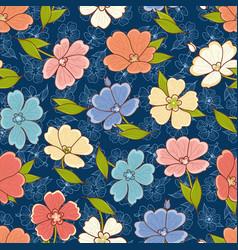 Floral print seamless pattern botanical ornament vector