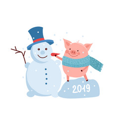 funny card design with cartoon pig and snowman vector image