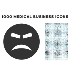 Furious Icon with 1000 Medical Business Symbols vector