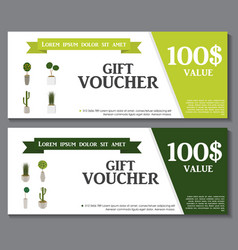 Gift Voucher Template with Green Plant in vector