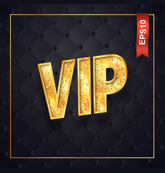 Gold vip text isolated logo on dark quilted vector