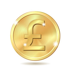 Golden coin with pound sterling sign vector