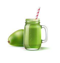 green smoothie in mason jar with straw vector image