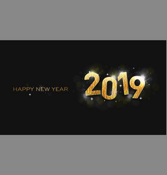 greeting card happy new year 2019 shinning stars vector image