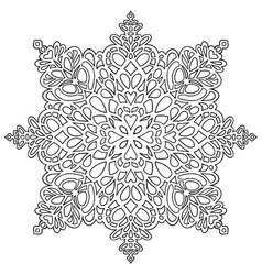 hand drawn antistress snowflake template vector image