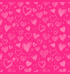 Hand drawn valentine grunge hearts pattern vector
