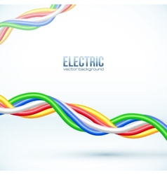 hanging colored cables background vector image