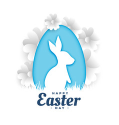 happy easter wishes greeting in paper style design vector image