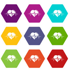 heart pulse icons set 9 vector image