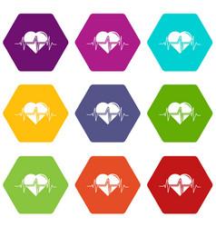 heart pulse icons set 9 vector image
