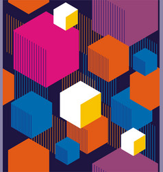 Hexagons and cubes vector