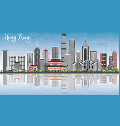 Hong kong skyline with gray buildings blue sky vector