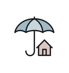 house insurance umbrella with real estate vector image