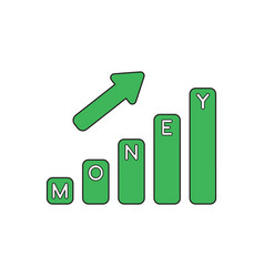 icon concept money bar graph moving up vector image