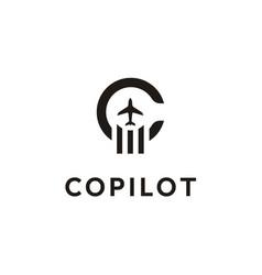 initial letter c copilot plane aircraft logo vector image