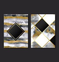 Invitation cards with gold and grey marble vector