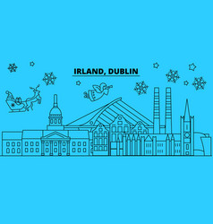 ireland dublin winter holidays skyline merry vector image